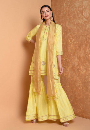 Gota Embroidered Cotton Chanderi Pakistani Suit in Yellow