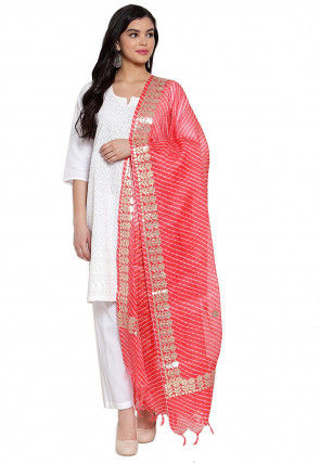 Gota Embroidered Cotton Doria Dupatta in Peach