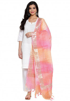 Gota Embroidered Cotton Doria Dupatta in Pink and Orange