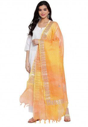 Gota Embroidered Cotton Doria Dupatta in Yellow and Orange