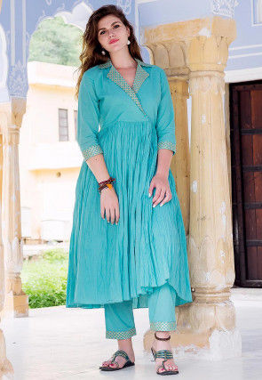 Gota Embroidered Cotton Kurta with Pant in Blue