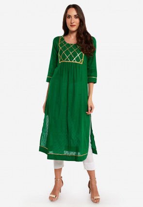 Gota Embroidered Cotton Pleated Kurta in Green