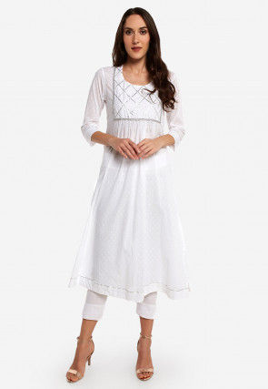 Gota Embroidered Cotton Pleated Kurta in Off White