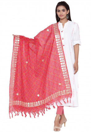 Gota Embroidered Cotton Printed Dupatta in Coral Red