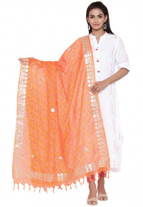 Gota Embroidered Cotton Printed Dupatta in Orange