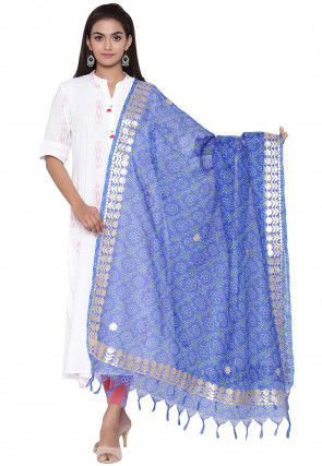 Gota Embroidered Cotton Printed Dupatta in Royal Blue