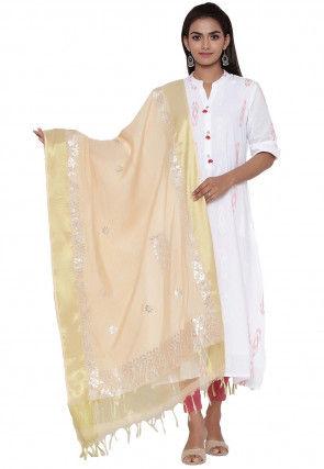 Gota Embroidered Cotton Silk Dupatta in Beige