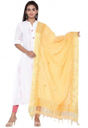 Gota Embroidered Cotton Silk Dupatta in Light Mustard