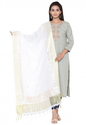 Gota Embroidered Cotton Silk Dupatta in Off White