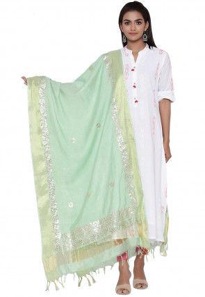 Gota Embroidered Cotton Silk Dupatta in Pastel Green