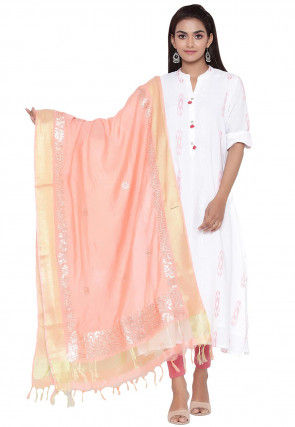 Gota Embroidered Cotton Silk Dupatta in Peach