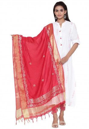 Gota Embroidered Cotton Silk Dupatta in Red