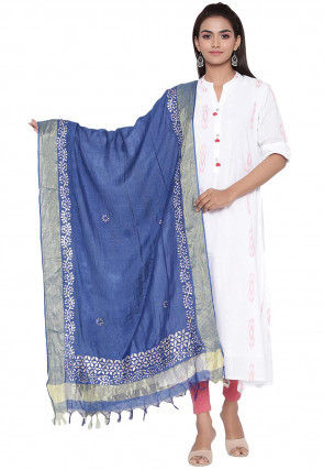 Gota Embroidered Cotton Silk Dupatta in Royal Blue