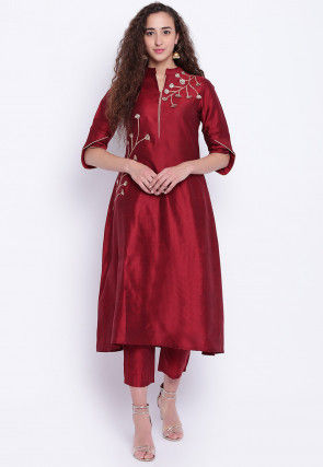 Gota Embroidered Cotton Silk Kurta with Pant in Maroon