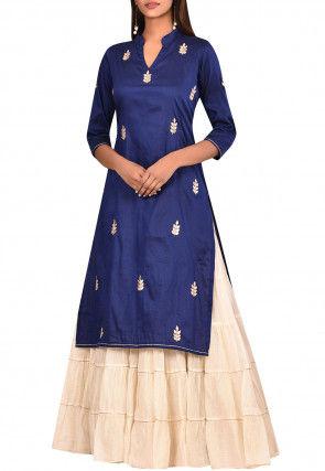 Gota Embroidered Cotton Silk Lehenga in Dark Blue