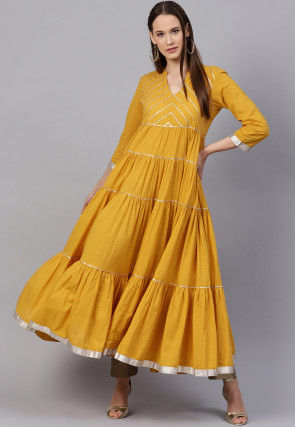 Gota Embroidered Cotton Tiered Kurta in Mustard