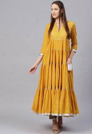 Gota Embroidered Cotton Tiered Kurta Set in Mustard