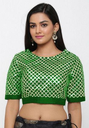 Gota Embroidered Dupion Silk Blouse in Dark Green