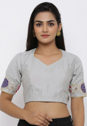 Gota Embroidered Dupion Silk Blouse in Grey