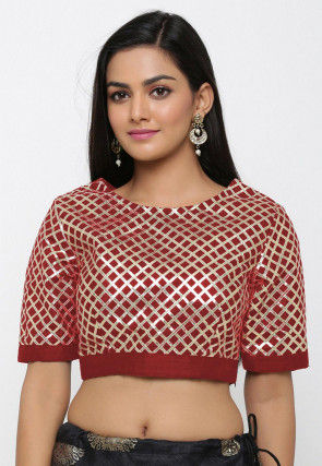 Gota Embroidered Dupion Silk Blouse in Maroon