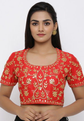 Gota Embroidered Dupion Silk Blouse in Red