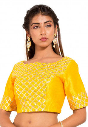 Gota Embroidered Dupion Silk Blouse in Yellow