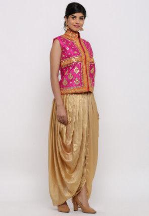 Gota Embroidered Dupion Silk Dhoti Jacket in Fuchsia