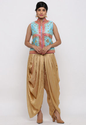 Gota Embroidered Dupion Silk Dhoti Jacket in Sky Blue