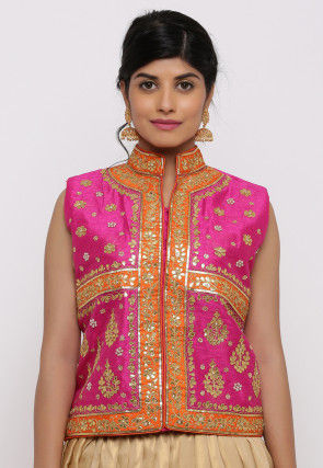 Gota Embroidered Dupion Silk Long Jacket in Fuchsia