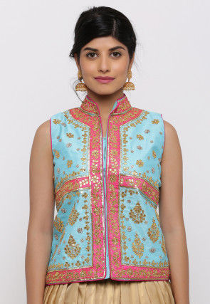 Gota Embroidered Dupion Silk Long Jacket in Sky Blue
