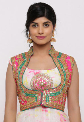 Gota Embroidered Dupion Silk Short Jacket in Fuchsia