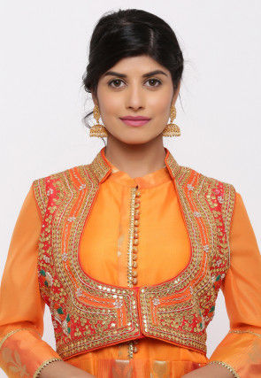 Gota Embroidered Dupion Silk Short Jacket in Orange