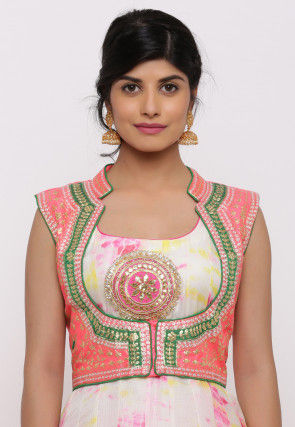 Gota Embroidered Dupion Silk Short Jacket in Pink