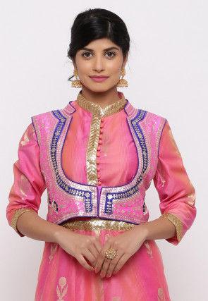 Gota Embroidered Dupion Silk Short Jacket in Pink