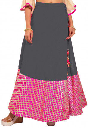 Gota Embroidered Dupion Silk Skirt in Grey and Pink