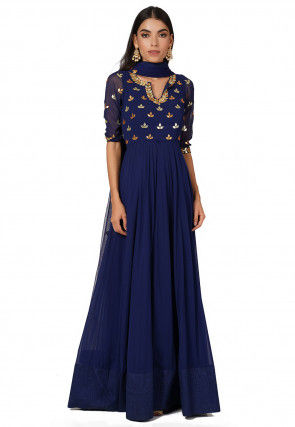 Gota Embroidered Georgette Abaya Style Suit in Dark Blue