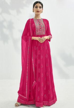 Gota Embroidered Georgette Abaya Style Suit in Fuchsia