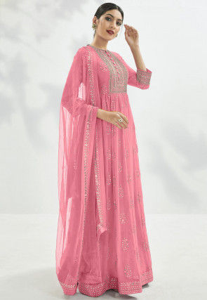 Gota Embroidered Georgette Abaya Style Suit in Light Pink