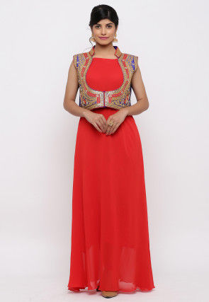Gota Embroidered Georgette Kurta Jacket Set in Red