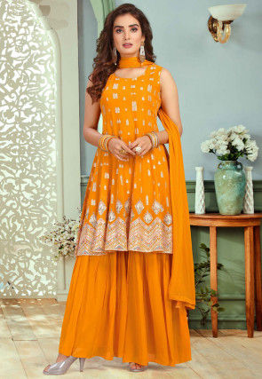 Gota Embroidered Georgette Pakistani Suit in Mustard