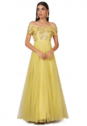 Gota Embroidered Net Abaya Style Suit in Light Yellow