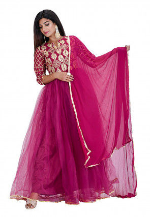 Gota Embroidered Net Abaya Style Suit in Wine