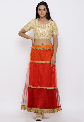 Gota Embroidered Net Crop Top with Skirt in Red and Beige