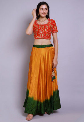 Gota Embroidered Satin Crop Top with Skirt in Red and Mustard