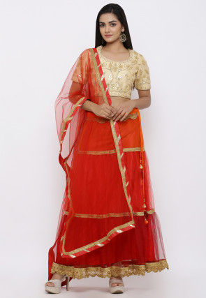 Gota Embroidered Shimmer Net Lehenga in Red