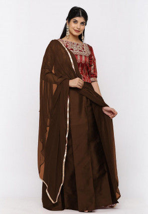 Gota Embroidered Taffeta Silk Lehenga in Dark Brown