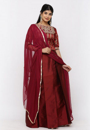 Gota Embroidered Taffeta Silk Lehenga in Maroon
