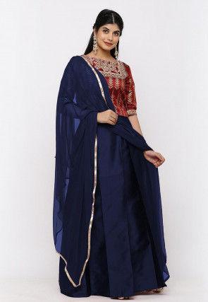 Gota Embroidered Taffeta Silk Lehenga in Navy Blue