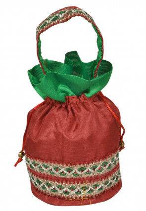 Gota Lace Art Silk Potali Bag in Red
