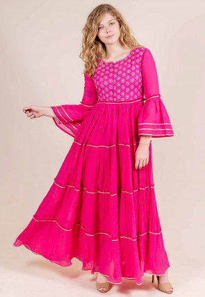 Gota Lace Cotton Circular Gown in Fuchsia